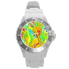 Happy Multicolor Painting Round Plastic Sport Watch (l) by designworld65