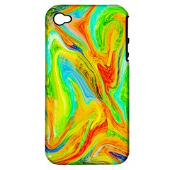Happy Multicolor Painting Apple Iphone 4/4s Hardshell Case (pc+silicone) by designworld65