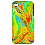 Happy Multicolor Painting Apple iPhone 4/4S Hardshell Case (PC+Silicone)