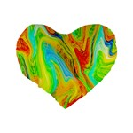 Happy Multicolor Painting Standard 16  Premium Heart Shape Cushions Back