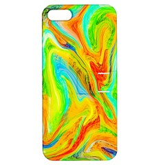 Happy Multicolor Painting Apple Iphone 5 Hardshell Case With Stand