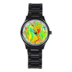 Happy Multicolor Painting Stainless Steel Round Watch by designworld65