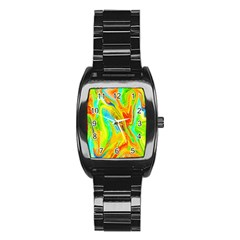 Happy Multicolor Painting Stainless Steel Barrel Watch by designworld65