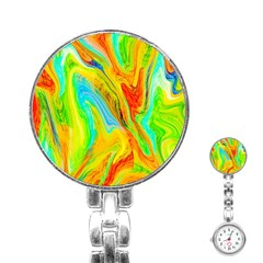 Happy Multicolor Painting Stainless Steel Nurses Watch by designworld65