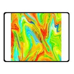 Happy Multicolor Painting Double Sided Fleece Blanket (small)  by designworld65