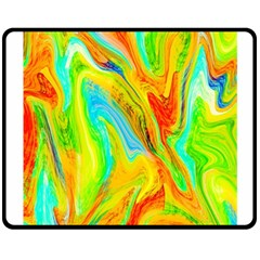 Happy Multicolor Painting Double Sided Fleece Blanket (medium)  by designworld65