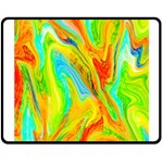 Happy Multicolor Painting Double Sided Fleece Blanket (Medium)  58.8 x47.4 Blanket Back