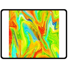 Happy Multicolor Painting Double Sided Fleece Blanket (large)  by designworld65