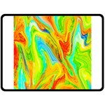 Happy Multicolor Painting Double Sided Fleece Blanket (Large)  80 x60 Blanket Back