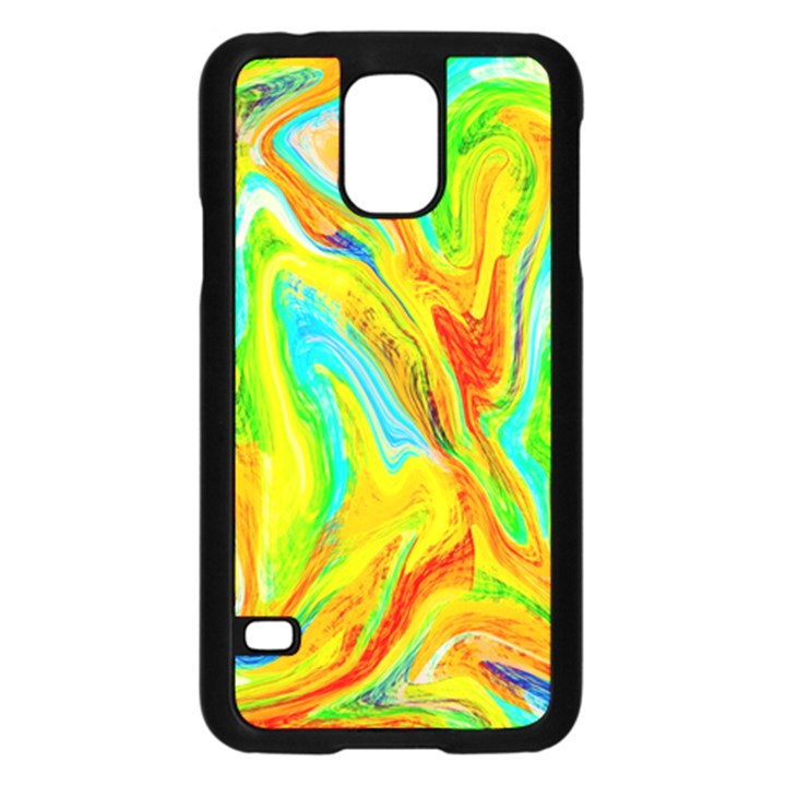 Happy Multicolor Painting Samsung Galaxy S5 Case (Black)