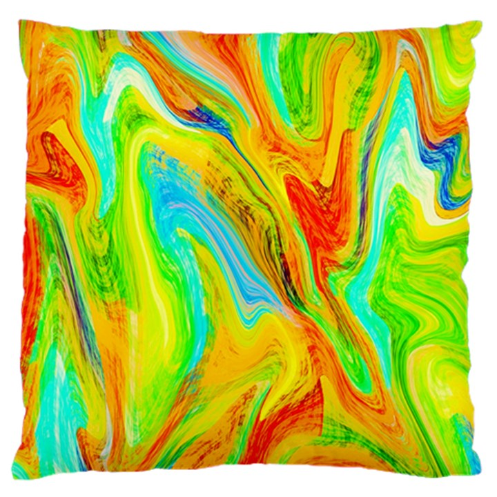 Happy Multicolor Painting Large Flano Cushion Case (Two Sides)