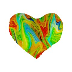 Happy Multicolor Painting Standard 16  Premium Flano Heart Shape Cushions by designworld65
