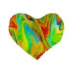 Happy Multicolor Painting Standard 16  Premium Flano Heart Shape Cushions