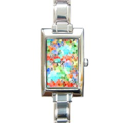 Colorful Mosaic  Rectangle Italian Charm Watch by designworld65