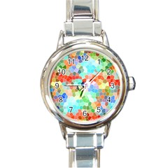 Colorful Mosaic  Round Italian Charm Watch by designworld65