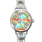 Colorful Mosaic  Round Italian Charm Watch