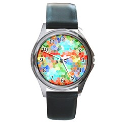 Colorful Mosaic  Round Metal Watch by designworld65