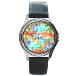 Colorful Mosaic  Round Metal Watch