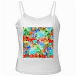 Colorful Mosaic  White Spaghetti Tank