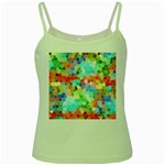 Colorful Mosaic  Green Spaghetti Tank