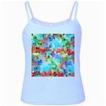 Colorful Mosaic  Baby Blue Spaghetti Tank Front