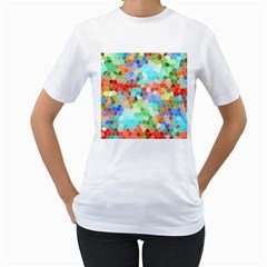 Colorful Mosaic  Women s T Shirt (white) (two Sided) by designworld65