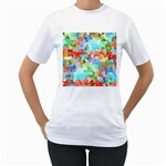 Colorful Mosaic  Women s T-Shirt (White) (Two Sided)