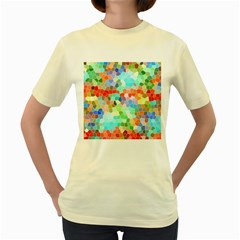 Colorful Mosaic  Women s Yellow T Shirt