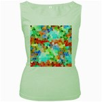 Colorful Mosaic  Women s Green Tank Top