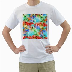 Colorful Mosaic  Men s T Shirt (white) (two Sided) by designworld65