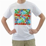 Colorful Mosaic  Men s T-Shirt (White) (Two Sided)