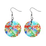 Colorful Mosaic  Mini Button Earrings Front