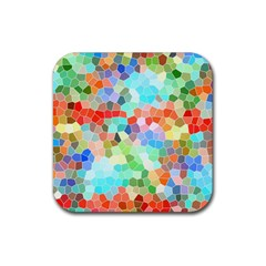 Colorful Mosaic  Rubber Coaster (square)