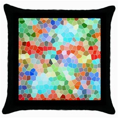 Colorful Mosaic  Throw Pillow Case (black) by designworld65