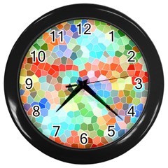 Colorful Mosaic  Wall Clocks (black) by designworld65