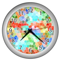 Colorful Mosaic  Wall Clocks (silver)  by designworld65