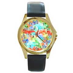Colorful Mosaic  Round Gold Metal Watch by designworld65