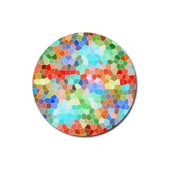 Colorful Mosaic  Rubber Round Coaster (4 Pack)  by designworld65