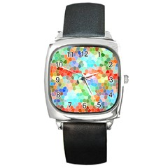 Colorful Mosaic  Square Metal Watch by designworld65