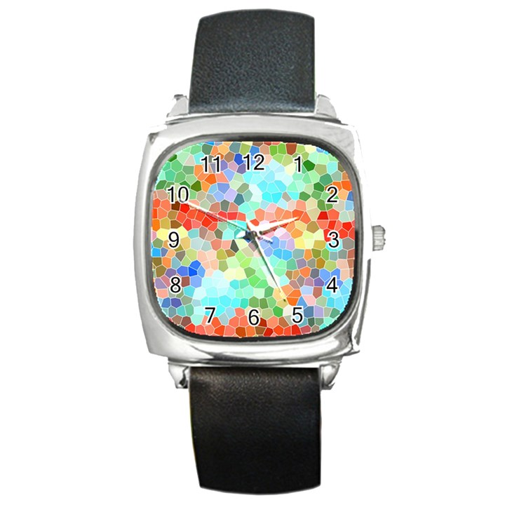 Colorful Mosaic  Square Metal Watch