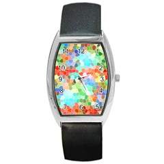 Colorful Mosaic  Barrel Style Metal Watch by designworld65