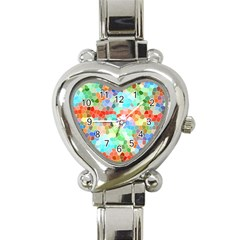 Colorful Mosaic  Heart Italian Charm Watch by designworld65