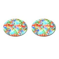 Colorful Mosaic  Cufflinks (oval) by designworld65