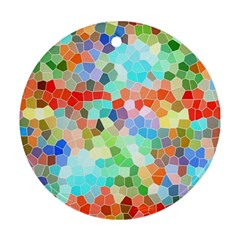 Colorful Mosaic  Round Ornament (two Sides)  by designworld65