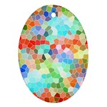 Colorful Mosaic  Oval Ornament (Two Sides) Front