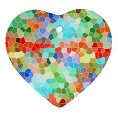 Colorful Mosaic  Heart Ornament (2 Sides) by designworld65