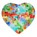 Colorful Mosaic  Heart Ornament (2 Sides) Front