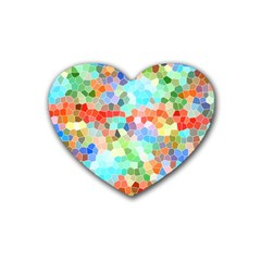Colorful Mosaic  Heart Coaster (4 Pack)  by designworld65