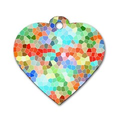 Colorful Mosaic  Dog Tag Heart (one Side)
