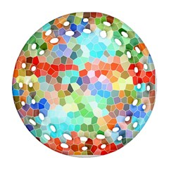 Colorful Mosaic  Ornament (round Filigree)  by designworld65